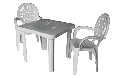 Resol Childrens Kids Garden Outdoor Plastic Chairs & Table Set - White Chairs, White Table - Childs Furniture (Pack of 2 Chairs & 1 Table)