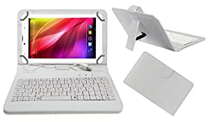 Acm Premium Usb Keyboard Tablet Case Holder Cover For Lava Ivory Plus With Free Micro Usb Otg White