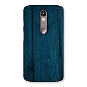 Royal Blue Wood Back Case Cover for Moto X Force