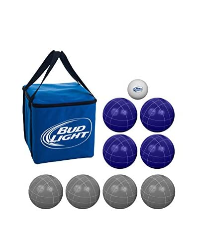 Trademark Games Bud Light Regulation-Size Bocce Ball Set with Carrying Case, Blue/Grey
