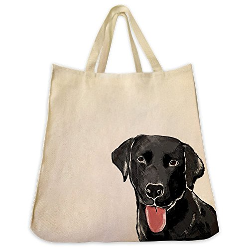 Lab Gifts - Black Labrador Retriever Dog Extra Large Cotton Twill Eco Friendly Reusable Tote Bag And Over the Shoulder Handbag