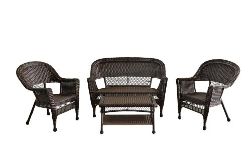 4pc Outdoor Espresso Wicker Patio Furniture Set