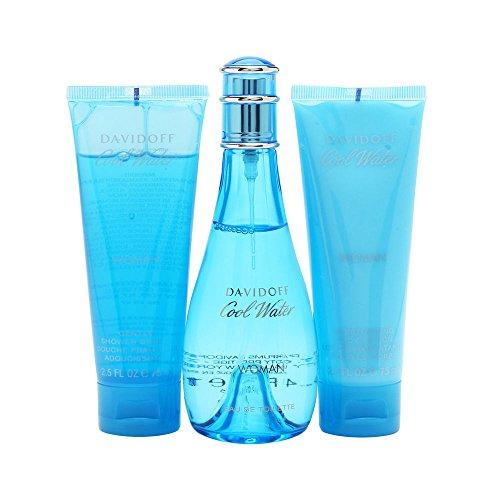Cool Water by Zino Davidoff for Women - 3 Pc Gift Set 3.4oz EDT Spray, 2.5oz Gentle Shower Breeze, 2.5oz Moisturizing Body Lotion