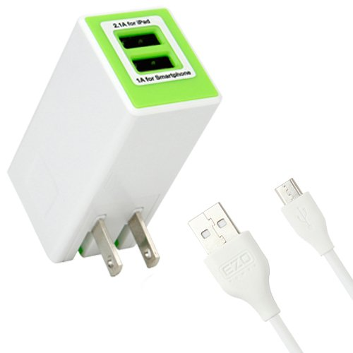 Ezopower Dual Port Usb Travel Charger + Cable For Dell Venue 8, Venue 7, Venue 8 Pro Android Window Tablet