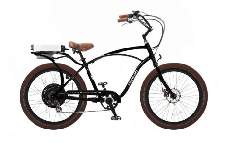 Pedego Black Comfort Cruiser Classic Electric Bike with Black Rims and Brown Balloon Tires