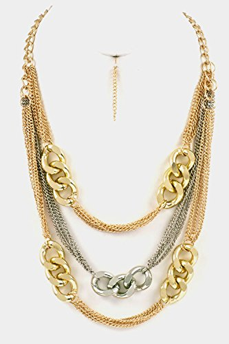 Trendy Fashion Jewelry 3 Layered Chain Accent Necklace Set By Fashion Destination   (Two Tone)