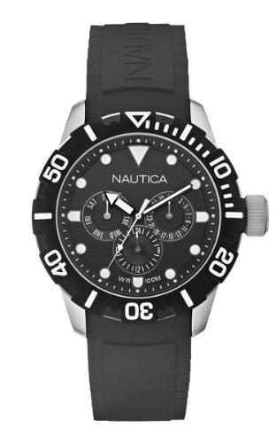 Nautica  NSR 101 A13643G - Reloj cronógrafo de cuarzo unisex, correa de resina color negro