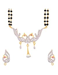 Zeneme Peacock Silver & White Gold Plated Mangalsutra For Women