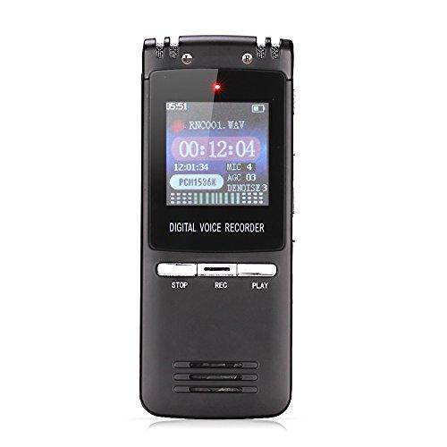 GHB Diktiergeräte Aufnahmegerät Digitaler voice recorder 8GB Speicher mit Stereoaufnahmen, MP3 Player Schwarz