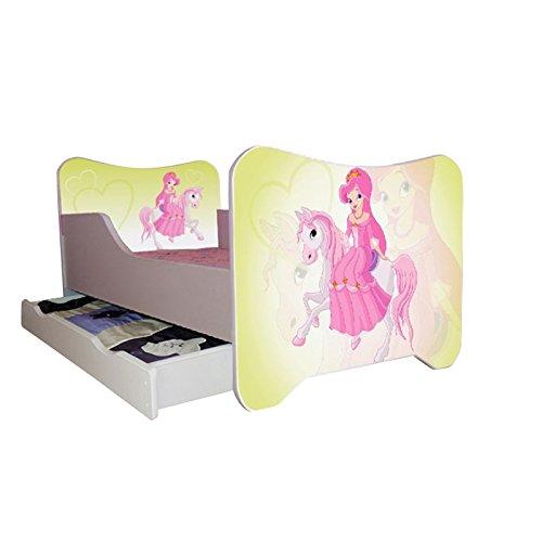 Kinderbett Prinzessin Pferd 70 x 140 cm, mit Lattenrost und Matratze, weiß