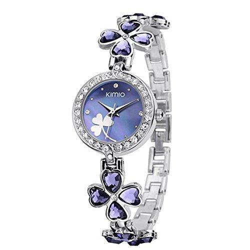 Dayan Ladies Quartz Bracelet Wristwatch Lucky Grass Leaf Clover Flower Watch Daily Stainlessl Purple