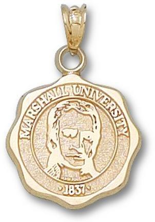 Marshall Thundering Herd Seal Pendant - 14KT Gold Jewelry by Logo Art