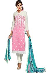 ZHot Fashion Women's Embroidered Un-stitched Dress Material In Cotton Fabric (ZHDM1018) Pink