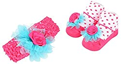 Baby Bucket baby flower knit strechable hairband socks gift box pink and white