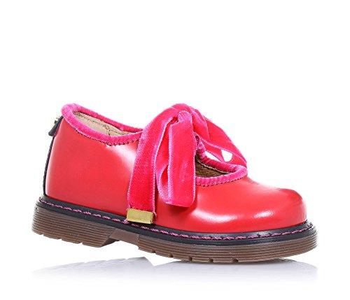 TWIN-SET - Ballerina rossa, in pelle lucida, dal design unico tipico del Made in Italy di alta qualità, con lacci e bordino superiore in velluto, Bambina, Ragazza-29