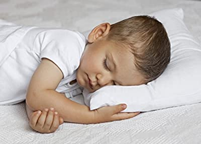 100% Cotton AND 100% Hypoallergenic White Perfectly Sized Toddler Pillow- Comes With a FREE Toddler Pillowcase by Paradise Pillow