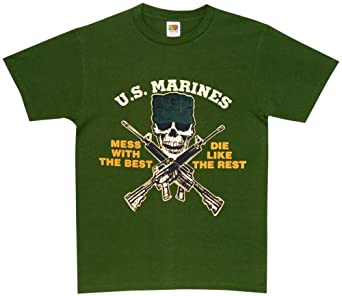U.S. Marine - Mess with the Best Scull and X Guns - Tee, Olive, Small