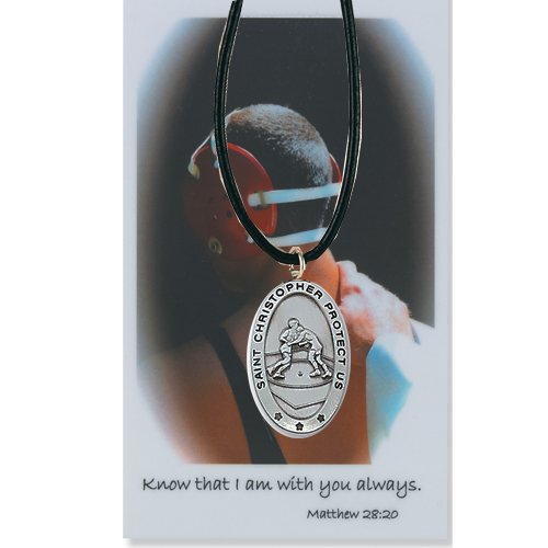 Boys wrestling Medal Prayer Card Catholic Sports Pendant Charm Christian