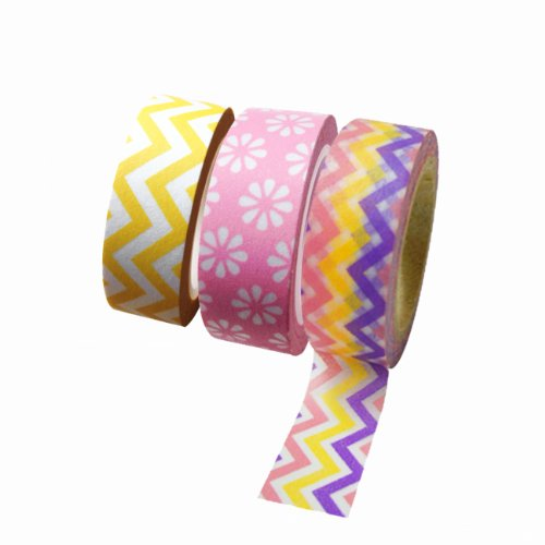 Dress My Cupcake DMC29212 Washi Decorative Tape for Gifts and Favors, Spring Collection, Set of 3