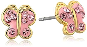 Molly Glitz Girls' 14K Gold-Plated Pink Crystal Butterfly Stud Earrings