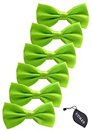 Udres 6 Pack Solid Bow Tie Satin Pre-tied Bowtie for Wedding Party (One Size, Green)