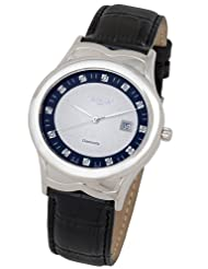 Swisstek SK21609G Limited Edition Diamond Watch With Silver And Blue Dial, Leather Strap And Sapphire Crystal