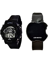 Freny Exim Sport Stylish Black Dial 7 Colour Light With Alarm And Black Apple Shape Digital Watch For Men And...