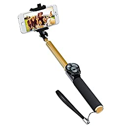 Amazing Selfie Stick with Built-in Bluetooth Shutter, Zoom and camera switch button for iPhones and Android OS. Improve Your Selfies Results Now! (Gold)