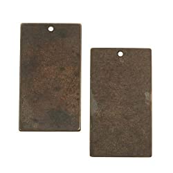 Vintaj Natural Brass Rustic Altered Blank Rectangle Pendants 32mm (2)