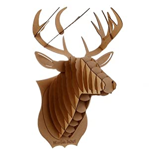 Decoration murale kit trophee de chasse puzzle 3d carton for Decoration murale tete animaux