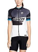 Santini Maillot Ciclismo Atom 2 UV Protection (Gris Oscuro / Blanco / Azul)