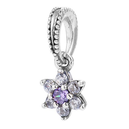 TAOTAOHAS antico sterling 925 argento charms ciondoli pendente beads perline [non ti scordar di mé, Violet] bracciali europeo misura