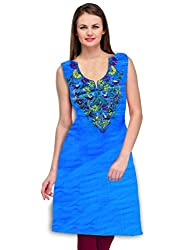 Arham Printed Cotton Blue Kurti Material