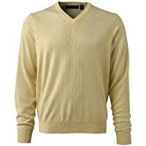 Mens Merino Cable Knit Sweaters Large Maize