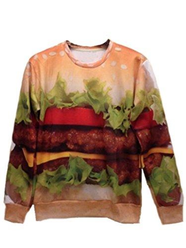 XTX? women men hip hop sport 3d Stereoscopic Hamburger print Sweater Jacket top
