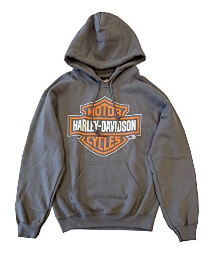 Harley-Davidson Men's Hooded Sweatshirt, Bar & Shield, Charcoal 30298036 (S)