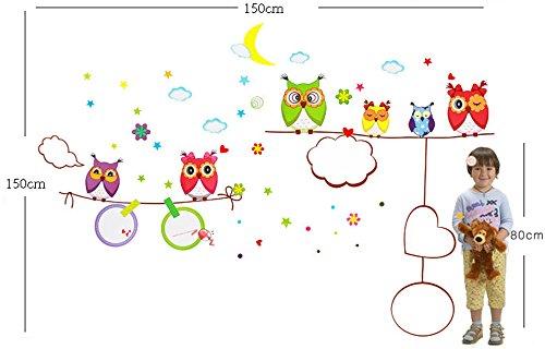Good Night Owl Famiglia Adesivo da parete murale decorazione per cameretta, Stanza dei giochi OWL WALL STICKER