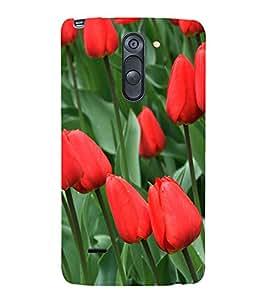 Red Tulips 3D Hard Polycarbonate Designer Back Case Cover for LG G3 Stylus :: LG G3 Stylus D690N :: LG G3 Stylus D690