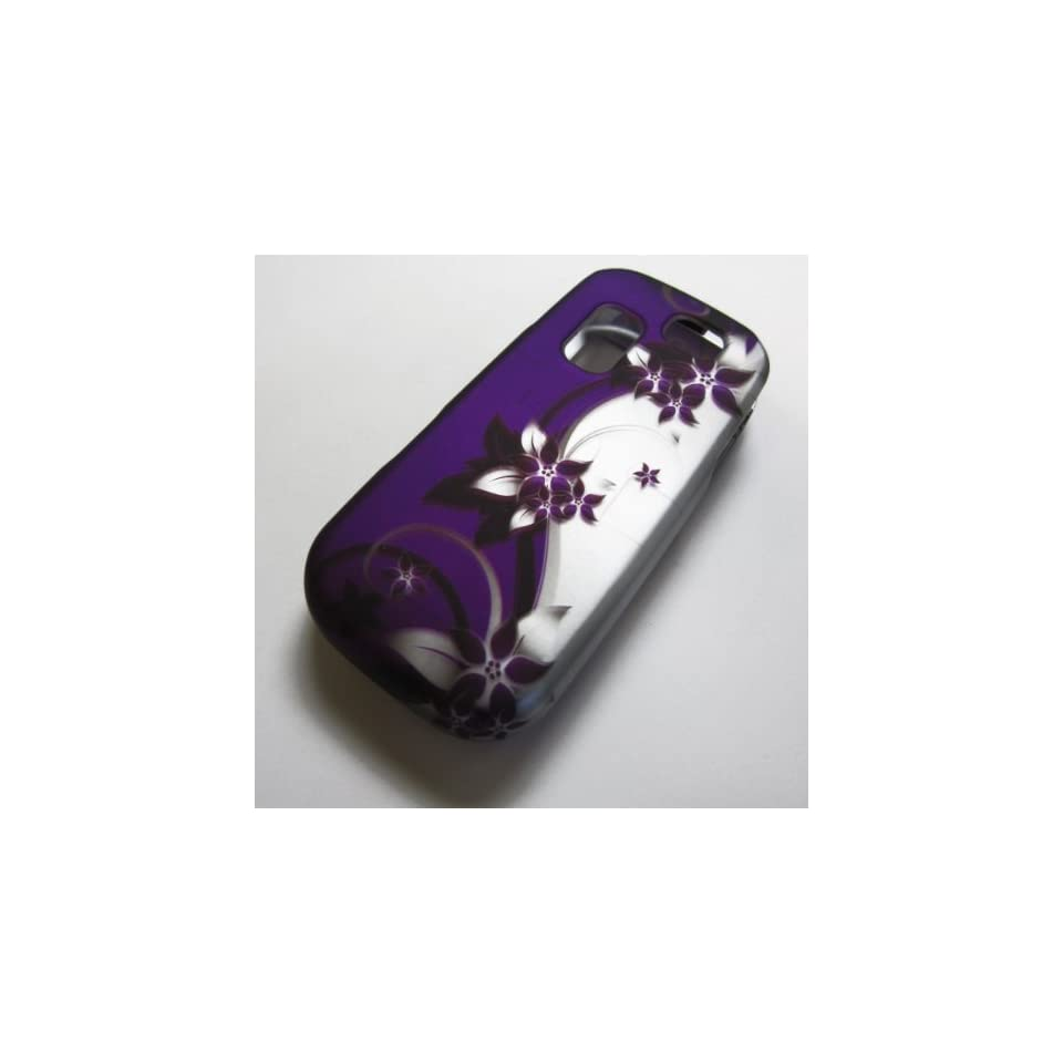 RUBBERIZED HARD PHONE CASES COVERS SKINS SNAP ON FACEPLATE PROTECTOR FOR SAMSUNG SGH T404G STRAIGHT TALK NET10 TRACFONE  OR GRAVITY 2 II SGH T469 T.MOBILE Slide / PURPLE VINE AND SILVER(WHOLESALE PRICE)