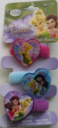 Disney Tinker Bell Hair Ponies (3) Pcs - 1