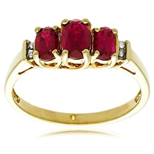 10k Yellow Gold July Birthstone 3-Stone Lab-Created Ruby Ring w/  Diamond Accent, Size 7