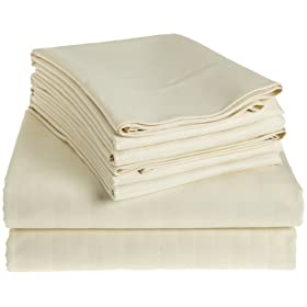 Hotel Fine Linens 1000-Thread Count 6-Piece Egyptian Cotton King Sheet Set, Ivory
