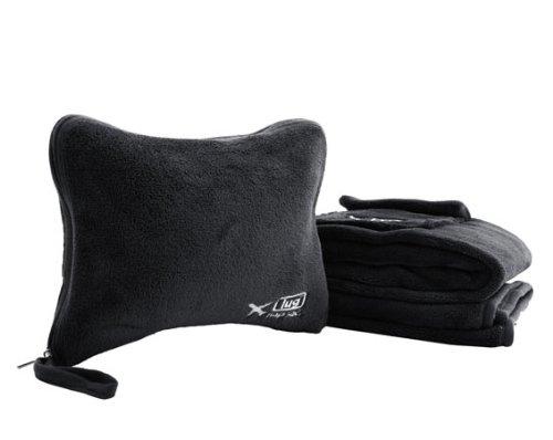 Black Travel Blanket and Inflatable Pillow Nap Sac Set by Lug