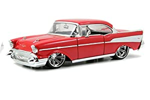 Amazon.com: Jada 1957 Chevy Bel Air Hardtop Bigtime Muscle 1:24 Scale (Red): Toys & Games