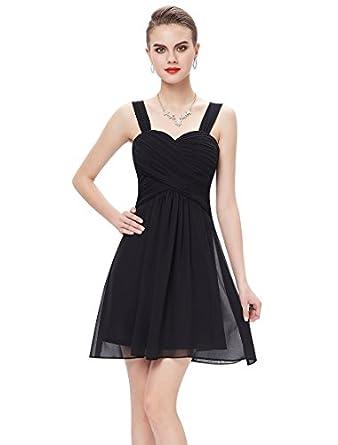 HE03539BK06, Black, 4US, Ever Pretty New Year Eve Chiffon Knee-length Bridesmaid Dresses 03539