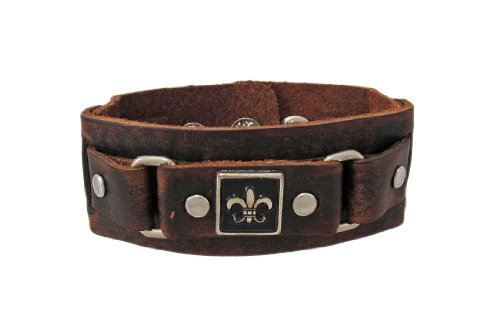 Brown Distressed Leather Wristband w/ Fleur De Lis