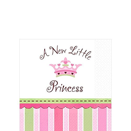 "Amscan Pretty Little Princess Baby Shower Party Supply Beverage Paper Napkins, 5.5 x 5.5"", Pink/Green/Purple"