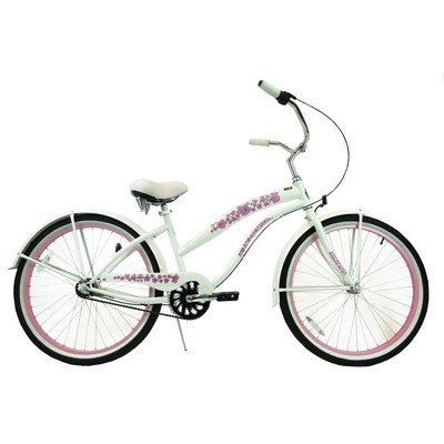 Women's 3-Speed Premium Beach Cruiser Frame Color: Pearl White with Pink Wheels