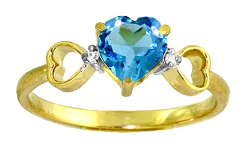 14k Solid Gold Blue Topaz Heart Ring - Size 7