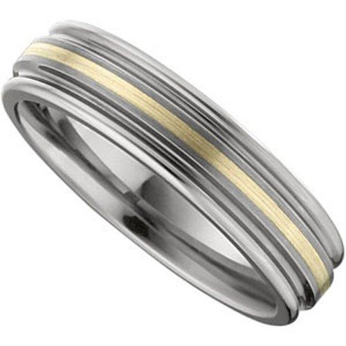Tungsten Carbide 14K Yellow Gold, Gold Inlay Ridged Wedding Band (sz 9.5)